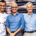 Edu Lyra e seus apoiadores Satya Nadella CEO da Microsoft e Jorge Paulo Lemann do conselho da sua ONG.